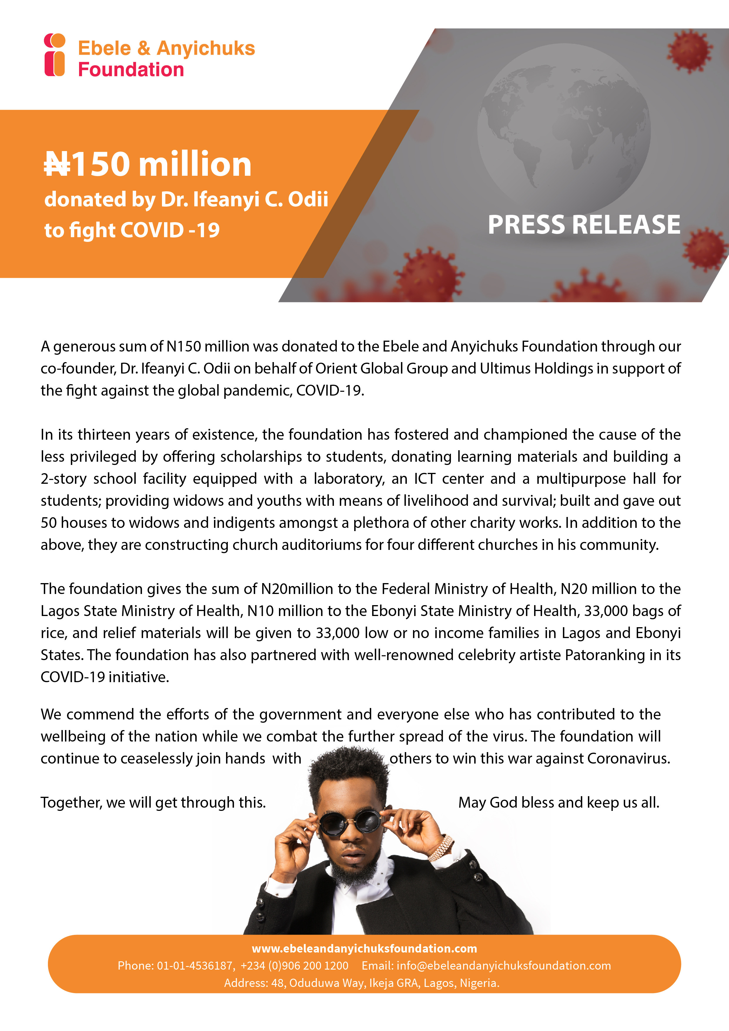 Ebele And Anyichuks Foundation Partners with Patoranking in its COVID-19 initiative lindaikejisblog