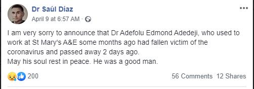 Another Nigerian doctor dies of Coronavirus in the UK lindaikejisblog 1