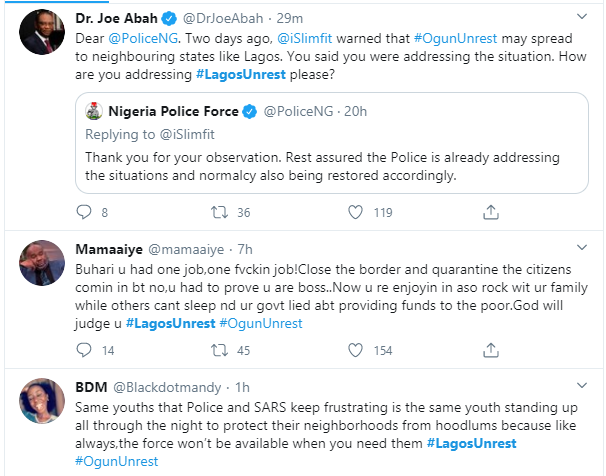 , #Lagosunrest trends as residents of Lagos take to the street defend themselves against robbers amid lockdown over Coronavirus (videos/photos), All9ja, All9ja