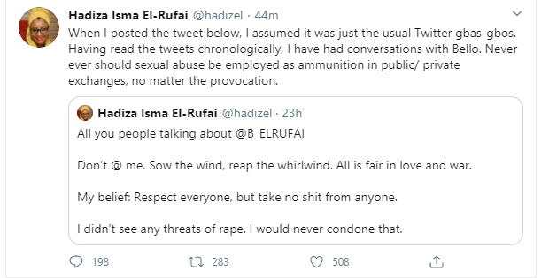 Governor El-Rufai's wife, Hadiza admits her son Bello threatened Twitter user with sexual abuse after being called out for supporting him lindaikejisblog 1