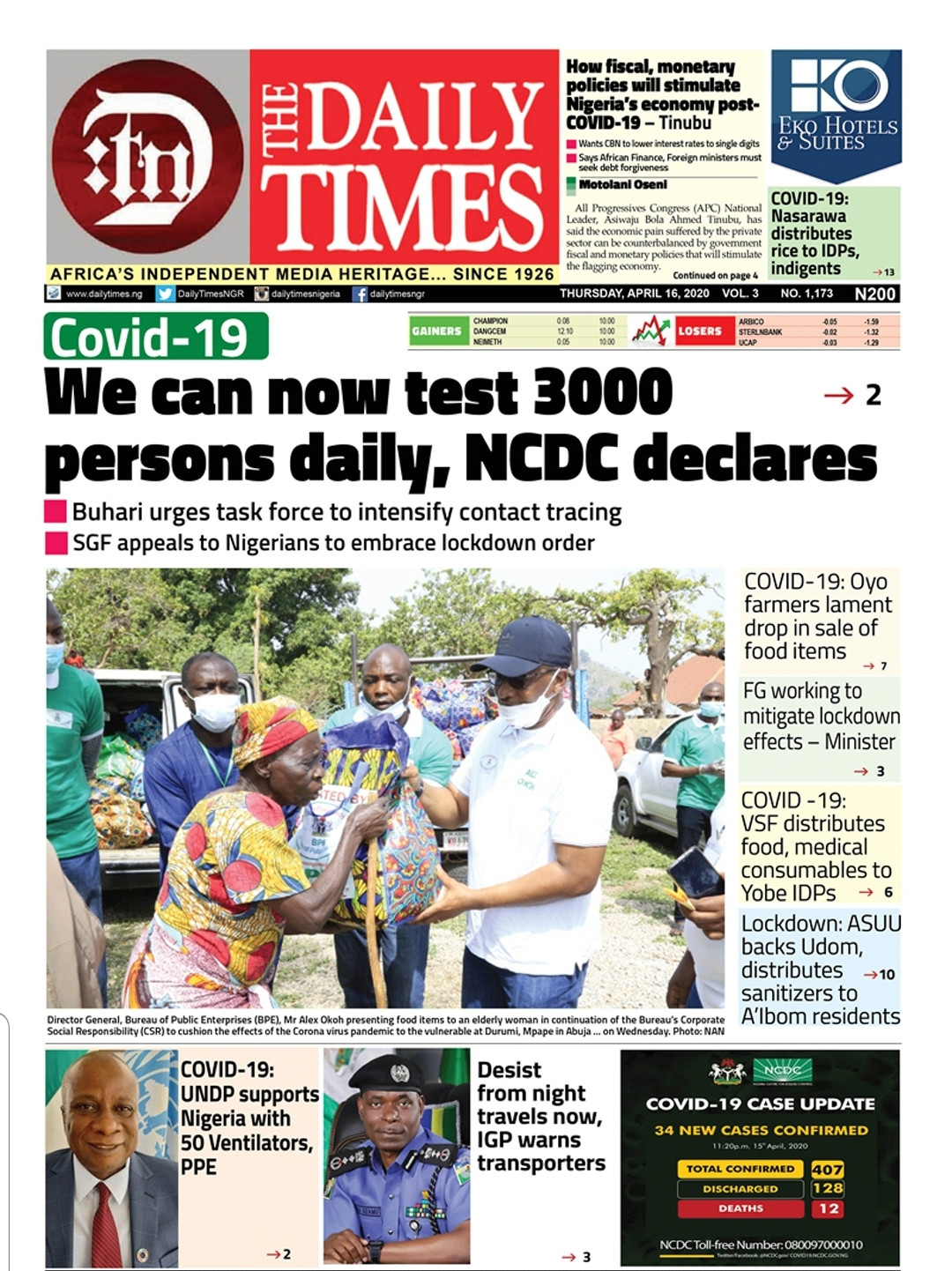 Daily Times Nigeria Top four Stories Today..