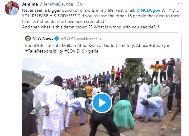 Actress Jemima Osunde calls out NCDC for releasing Abba Kyari's corpse, slams those that attended the burial ceremony lindaikejisblog 1