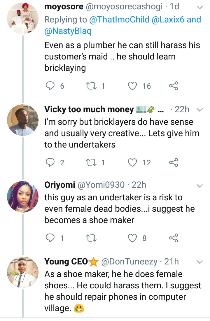 Savage Nigerians suggest alternative jobs for Instagram comedian,Nasty Blaq after he was accused of promoting rape in his latest skit, All9ja