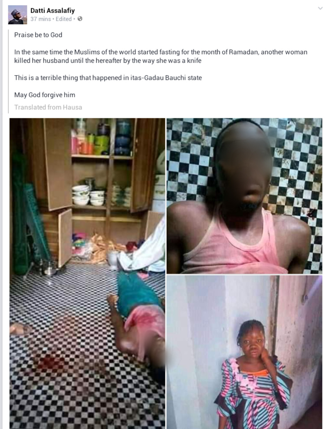 Young housewife stabs her husband to death in Bauchi (graphic photos), All9ja