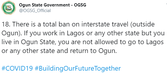 Ogun state residents who work in Lagos will not be allowed to leave the state – Ogun state government announces as lockdown ease begins on May 4, All9ja