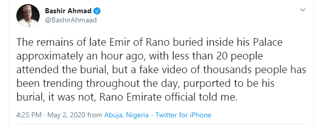 The burial ceremony of late Emir of Rano was attended by less than 20 people - Presidential aide, Bashir Ahmad counters viral video lindaikejisblog 1