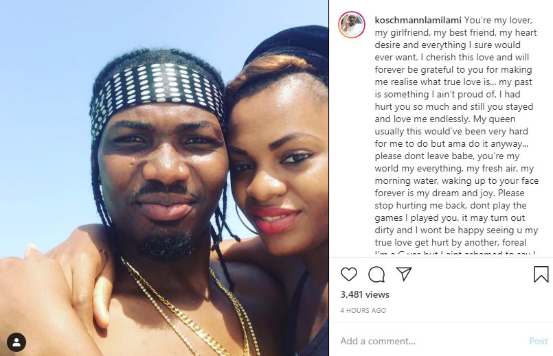 I've hurt you so much but please don't leave - BBNaija's Jackye Madu's boyfriend, Oluwasegun publicly begs her lindaikejisblog 1