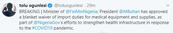 President Buhari approves waiver of import duties for medical equipment, All9ja