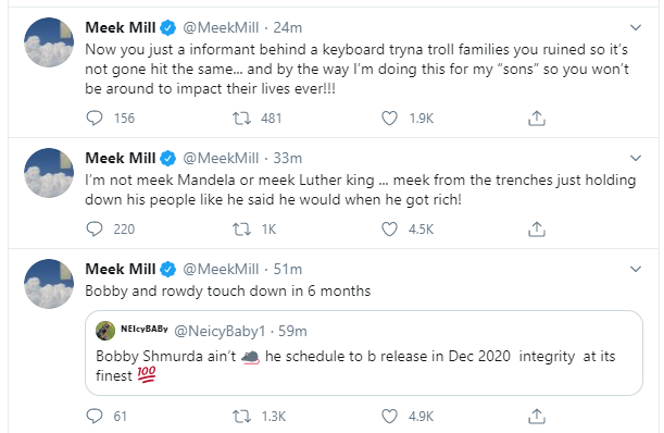 Meek Mill says Tekashi 6ix9ine should apologize for being a rat lindaikejisblog 2