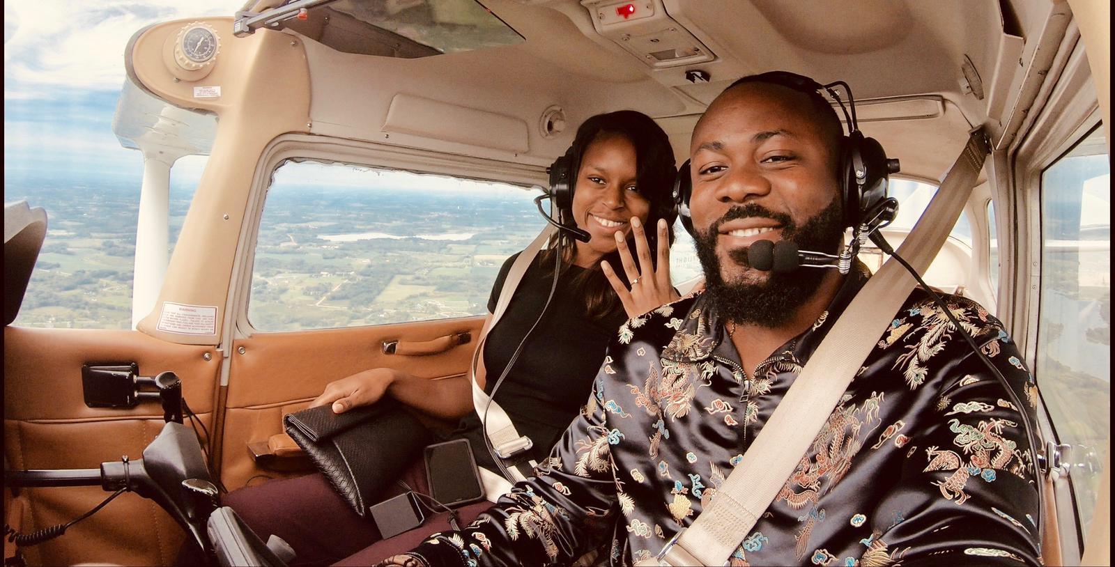 Nigerian Man Samuel Enyi aka DJ IREM becomes the first Black man to engage his fiance on a single engine airplane