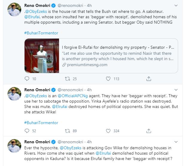 You are a house rat that tells the bush rat where to go - Reno Omokri slams Oby Ezekwesili for criticizing Governor Wike over demolition of hotel lindaikejisblog 1