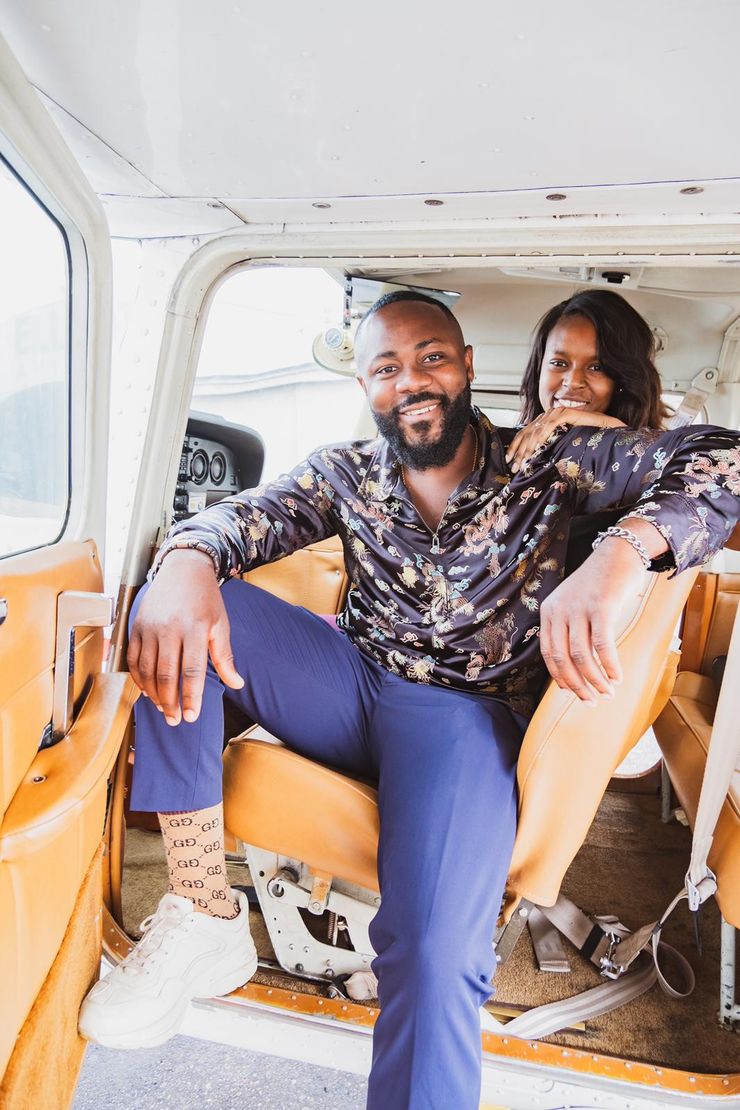 Nigerian Man Samuel Enyi aka DJ IREM becomes the first Black man to engage his fiance on a single engine airplane lindaikejisblog2