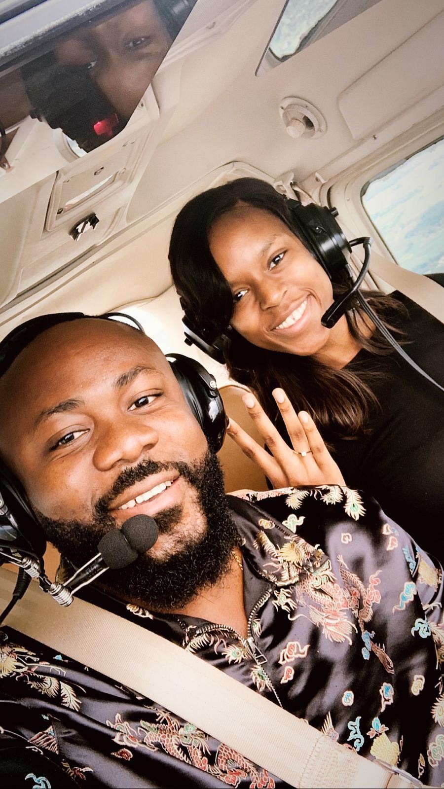Nigerian Man Samuel Enyi aka DJ IREM becomes the first Black man to engage his fiance on a single engine airplane lindaikejisblog3