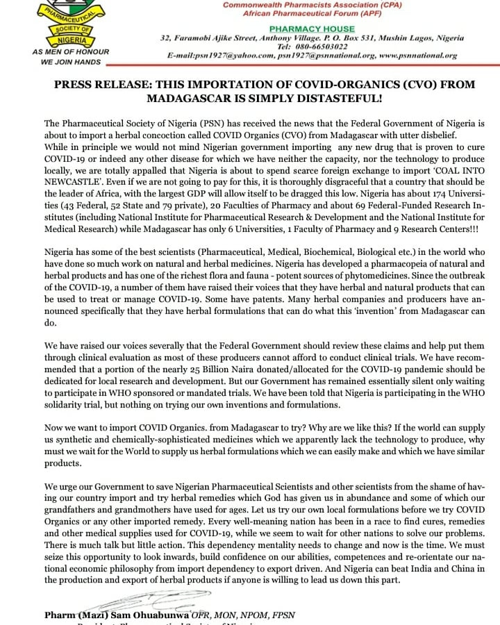 This is thoroughly disgraceful- Pharmaceutical Society of Nigeria protest FG's plan to import Madagascar COVID19 syrup, All9ja