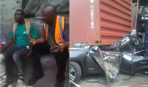 3 men walk away unscathed after a container fell on a car they were travelling in at Apapa lindaikejisblog