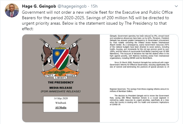 Namibia bans new cars for government officials till 2025 lindaikejisblog