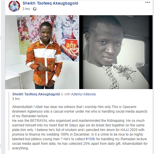 Popular Oyo Islamic cleric, Taofeeq Akeubagold shares photos of his worker who masterminded the kidnap of his twins lindaikejisblog 1
