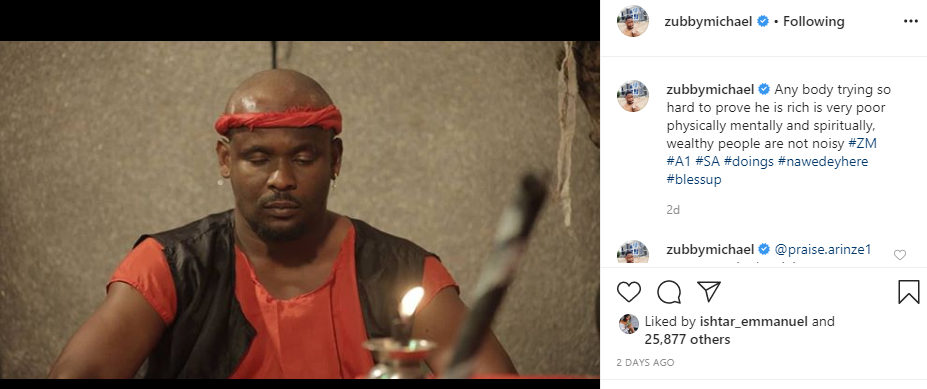 We dont celebrate unexplained money - Actor Zubby Michael takes shot at Hushpuppi after being compared with him lindaikejisblog 1
