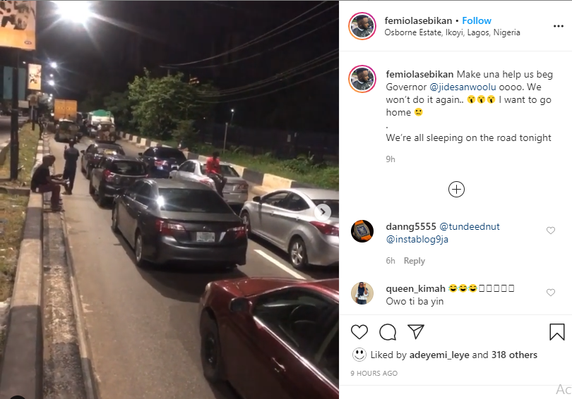 Motorists spend the night at Osborne Road in Ikoyi for violating curfew order in Lagos lindaikejisblog 1