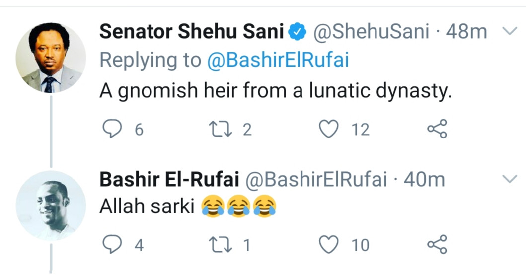 """""""A Gnomish heir from a lunatic dynasty"""" Senator Shehu Sani replies Gov. El-Rufai's son who trolled him on Twitter, All9ja"""