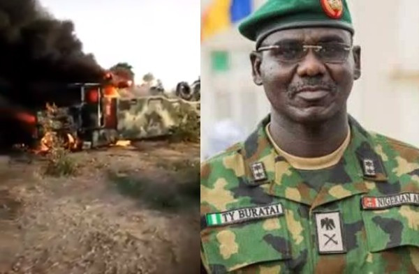 Defence Headquarters confirms death of two Nigerian soldiers and 3 Boko Haram members in ambush; soldiers curse Buratai in viral video