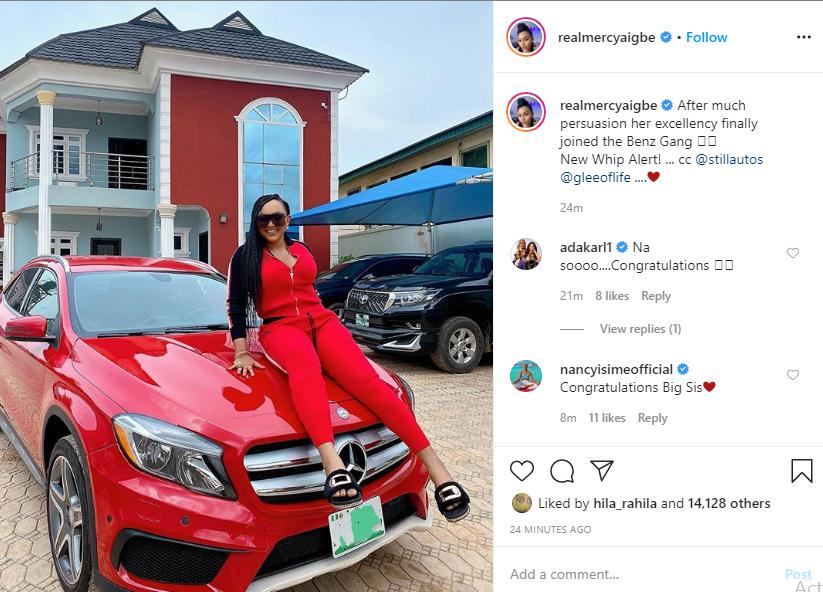 Actress Mercy Aigbe buys a new Mercedes Benz lindaikejisblog 1