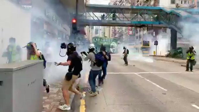 , Hong Kong Police fire teargas at citizens protesting against China's proposed security law, All9ja, All9ja