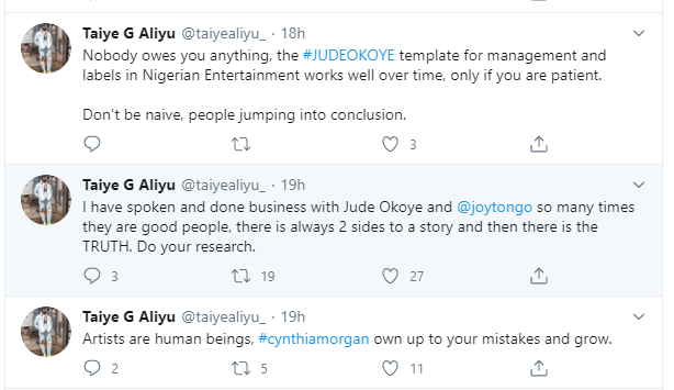 Nobody owes you anything, own up to your mistake and grow - Yemi Alades record label boss, Taiye Aliyu tells Cynthia Morgan lindaikejisblog 1
