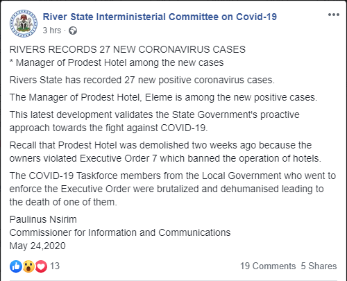 Manager of demolished hotel among 27 new cases of COVID-19 Rivers government lindaikejisblog 1