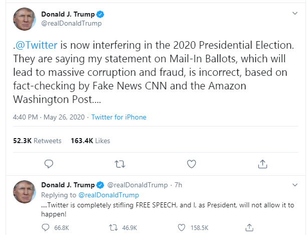 Twitter tags President Trump's tweet with fact-checking warning lindaikejisblog 2