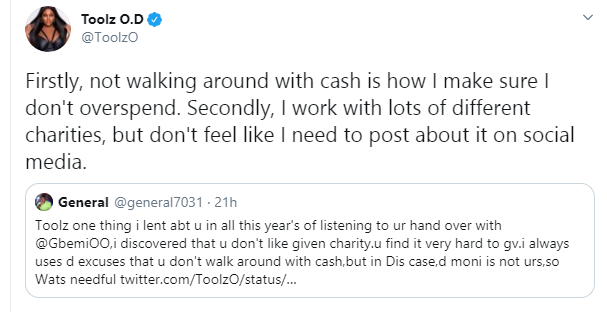 Toolz shares experience with her staff who asked her to transfer her entire salary to her church lindaikejisblog 3