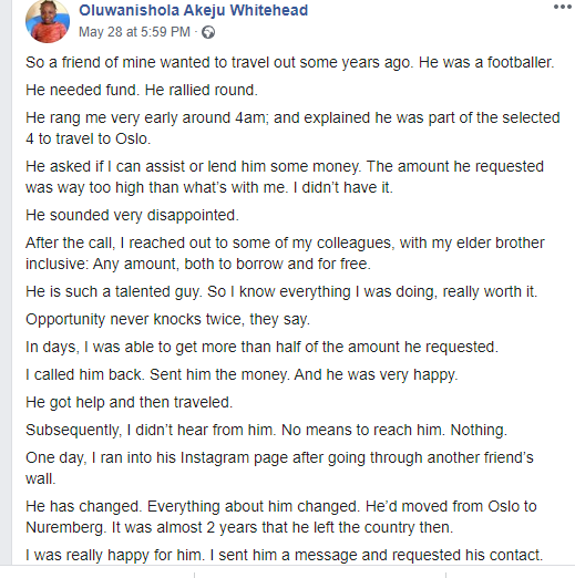 Man narrates how he helped a footballer friend twice even after he stopped talking to him after becoming successful lindaikejsblog