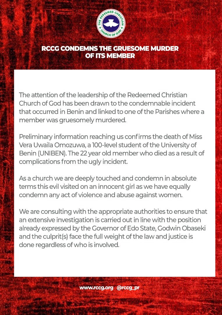 Pastor EA Adeboye reacts to the rape and murder of UNIBEN student, Uwa Omozuwa, in one of the branches of his church, All9ja
