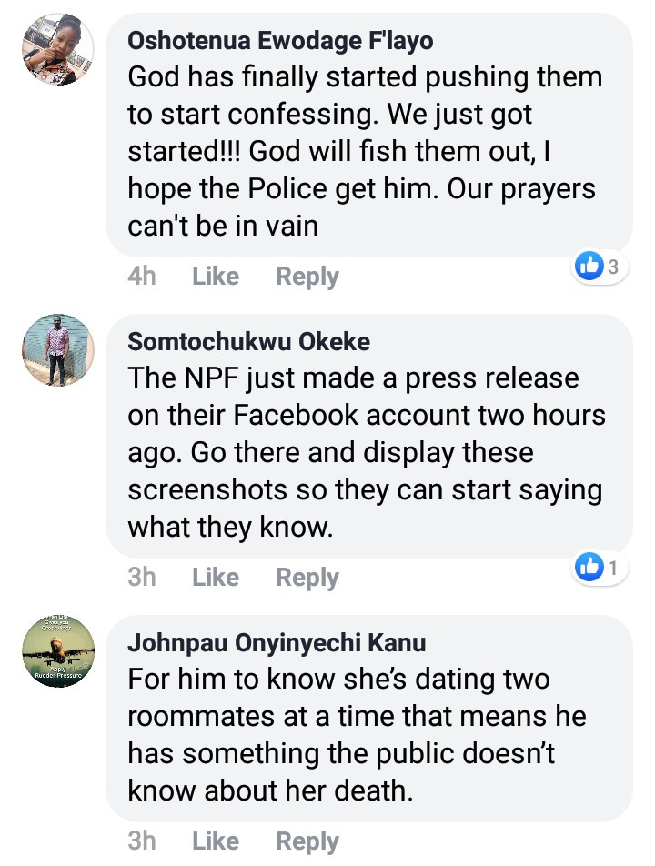 """He knows something"" Facebook users call on police to investigate a man after he dropped a hint while gloating over the death of Uwa Omozuwa, All9ja"