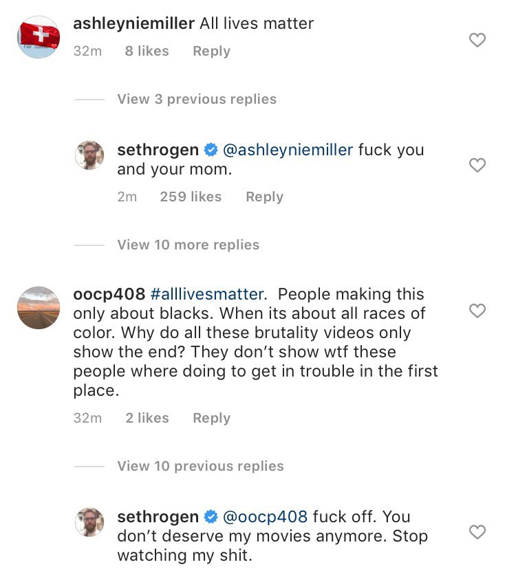 Actor Seth Rogen says FuCK OFF  to Instagram followers who had issues with his Black Lives Matter post lindaikejisblog 8
