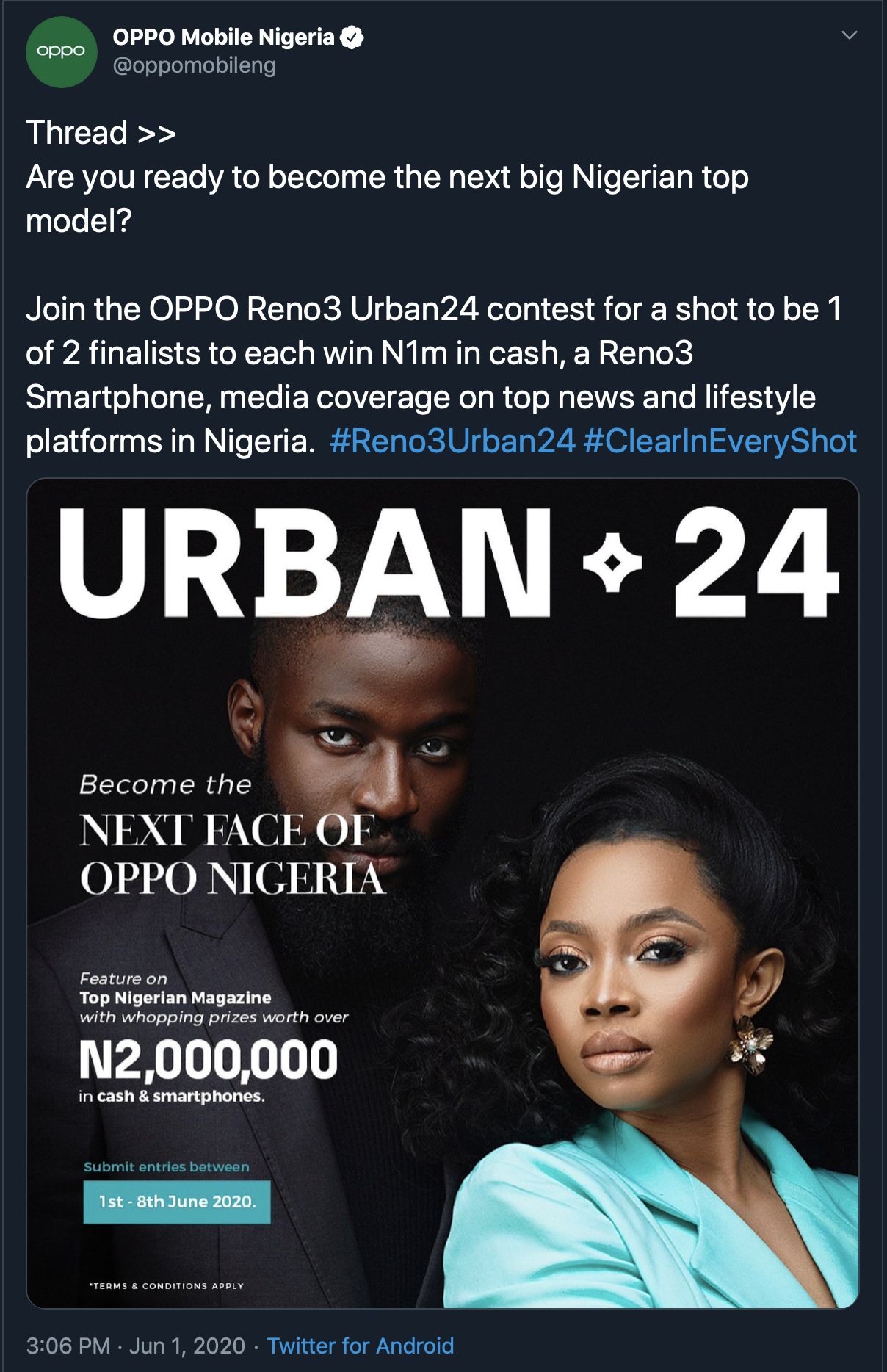 Become The Next Nigerian Top Model in The OPPO Reno3 Urban24 Contest lindaikejisblog2