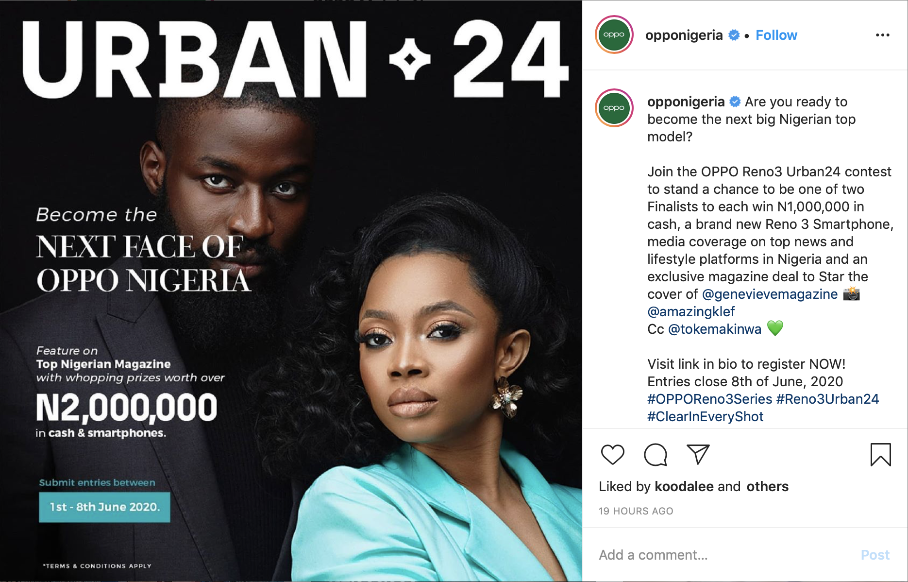 Become The Next Nigerian Top Model in The OPPO Reno3 Urban24 Contest lindaikejisblog1