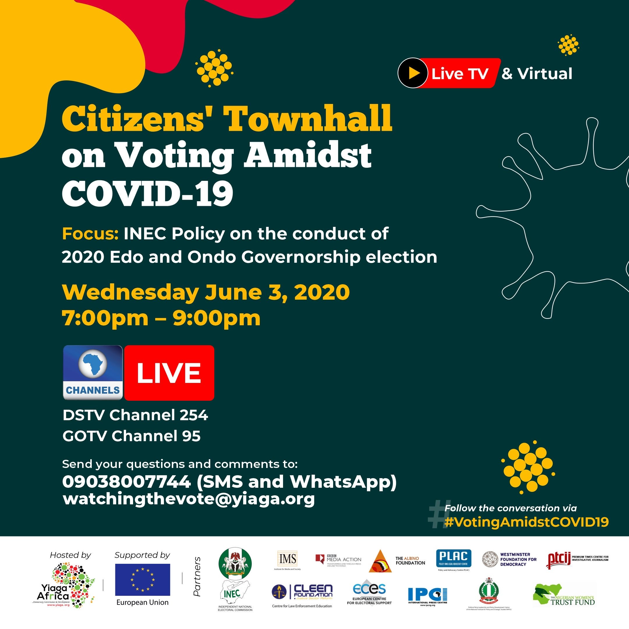 2020 Edo and Ondo governorship elections Civil society groups host Live TV and virtual citizens townhall on Voting Amidst COVID-19