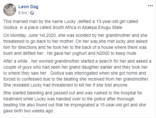 Man nabbed after defiling a 13-year-old girl and impregnating a 15-year-old girl lindaikejisblog 1