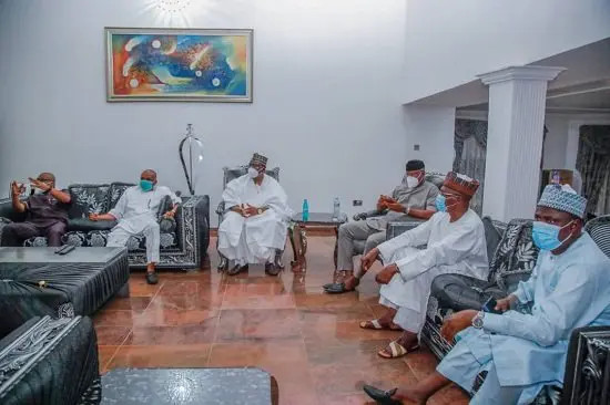 Senate President Lawan and others visit Orji Kalu after being released from prison lindaikejisblog 2