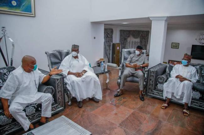 Senate President Lawan and others visit Orji Kalu after release from Kuje prison lindaikejisblog 3