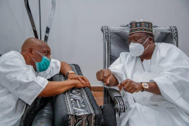 Senate President Lawan and others visit Orji Kalu after release from Kuje prison lindaikejisblog 5