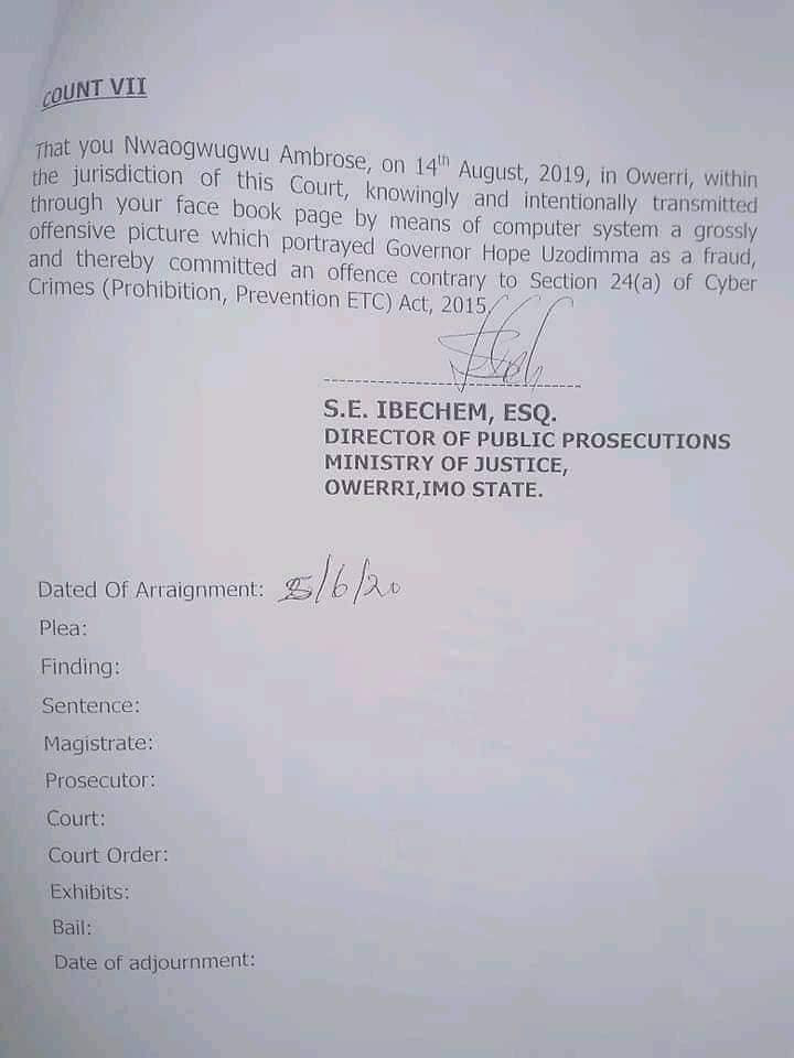 PDP official who accused Imo governor of giving land to herdsmen charged with terrorism lindaikejisblog 3