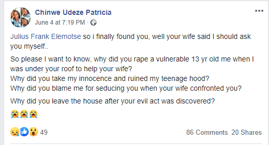 Nigerian lady calls out her aunt for physically abusing her and her husband for allegedly raping her when she was 13 lindaikejisblog 2