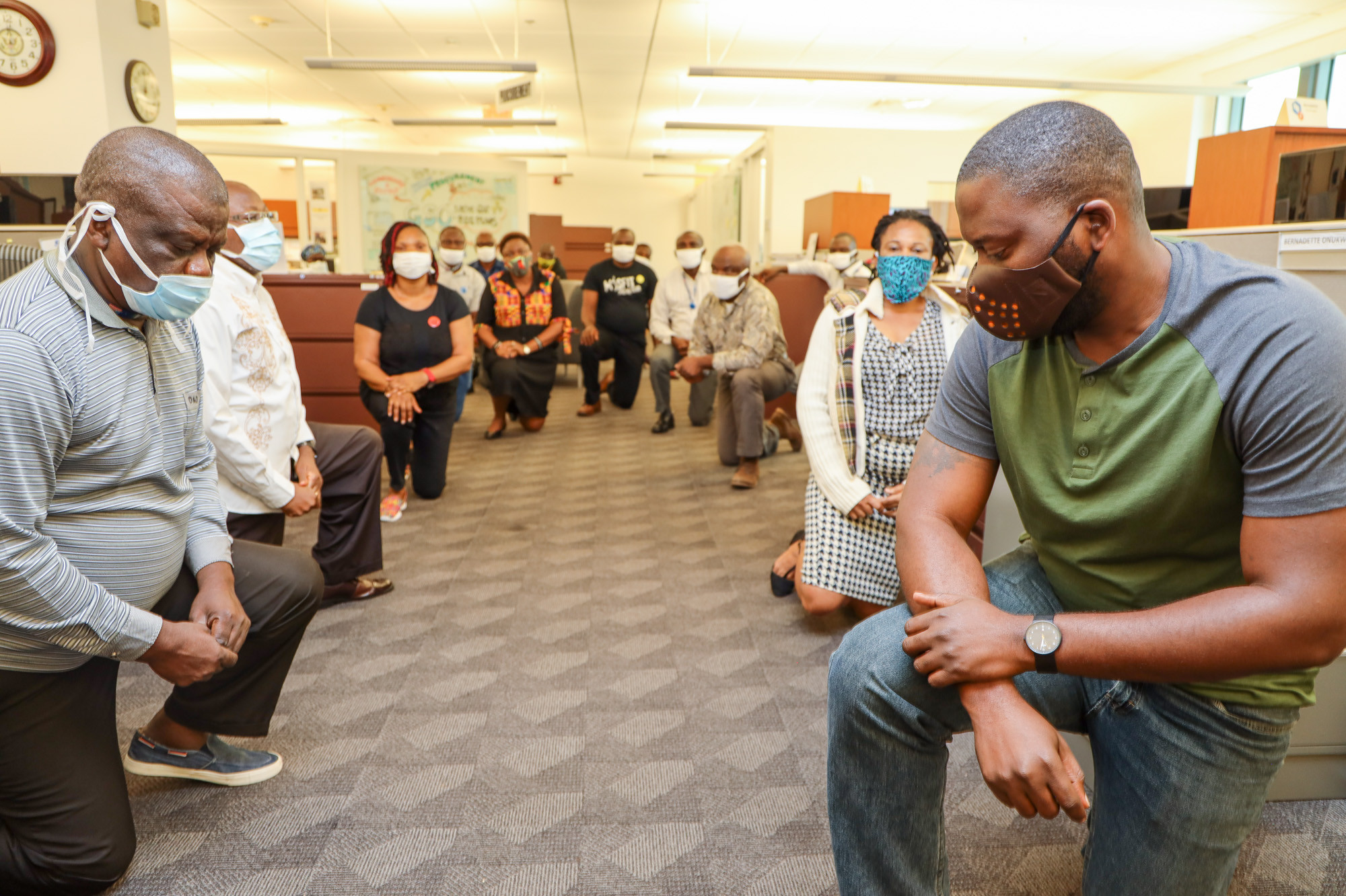 US Embassy staff in Nigeria take a knee to show support for the Black Lives Matter protesters, All9ja