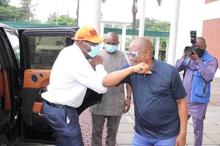 Governor Nyesom Wike hosts Governor Obaseki in Rivers state after he got disqualified by APC lindaikejisblog 3