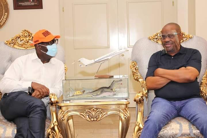 Governor Nyesom Wike hosts Governor Obaseki in Rivers state after he got disqualified by APC lindaikejisblog 2