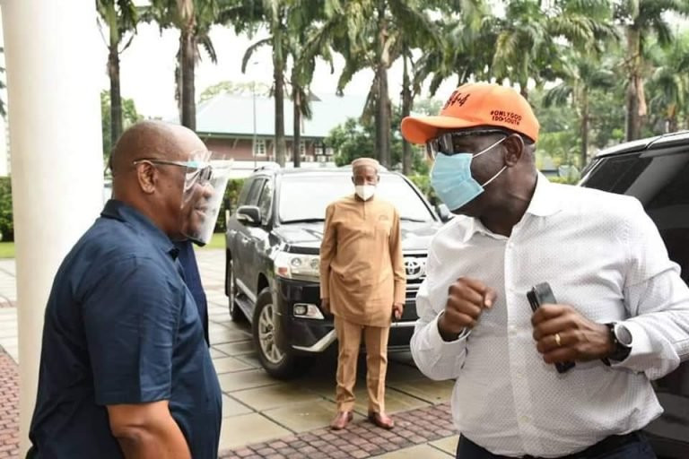 Governor Nyesom Wike hosts Governor Obaseki in Rivers state after he got disqualified by APC lindaikejisblog 4