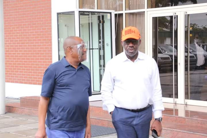 Governor Nyesom Wike hosts Governor Obaseki in Rivers state after he got disqualified by APC lindaikejisblog 5