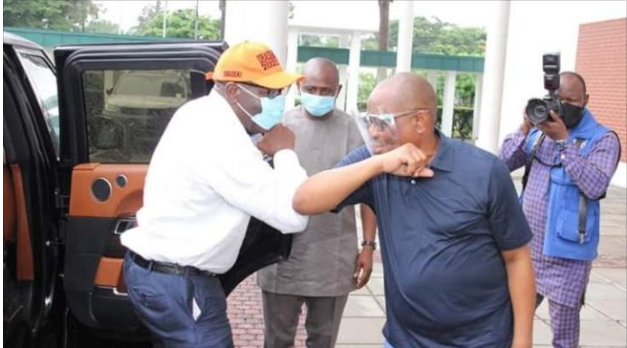 Governor Nyesom Wike hosts Governor Obaseki in Rivers state after he got disqualified by APC lindaikejisblog